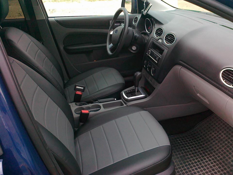 Авточехлы из экокожи Автолидер для  Seat Leon 3 с 2013-н.в. хэтчбек черные  с серым