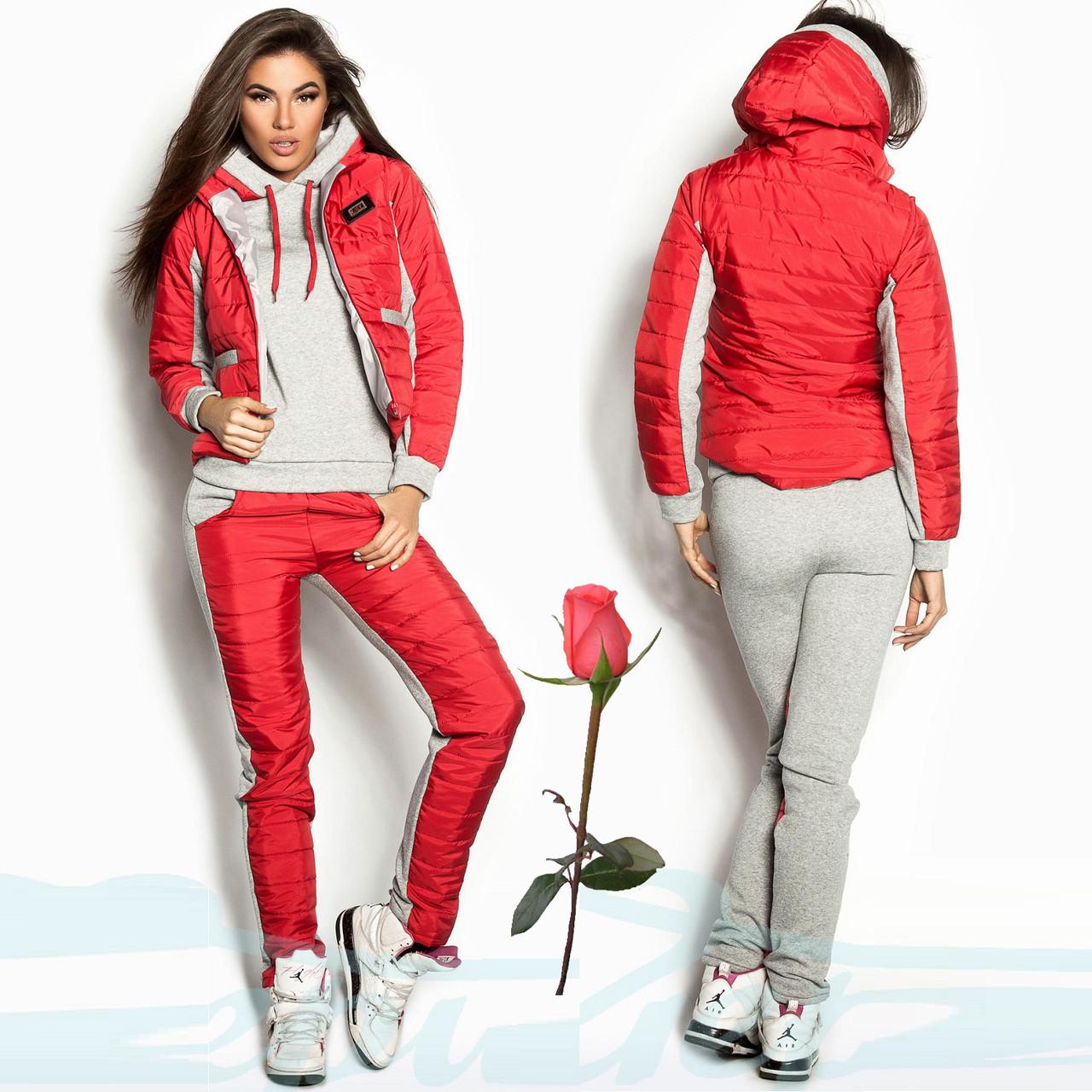 Утепленный женский спортивный костюм тройка  Gr 18078  Красный