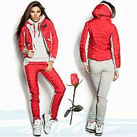 Утепленный женский спортивный костюм тройка  Gr 18078  Красный, фото 1