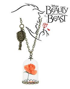 Кулон роза в колбе Красавица и чудовище Beauty and the Beast Оранжевый