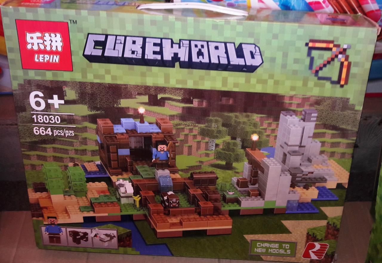 Конструктор Lepin 18030 Майнкрафт Minecraft Хижина на острове или Верстак 2.0 664 дет