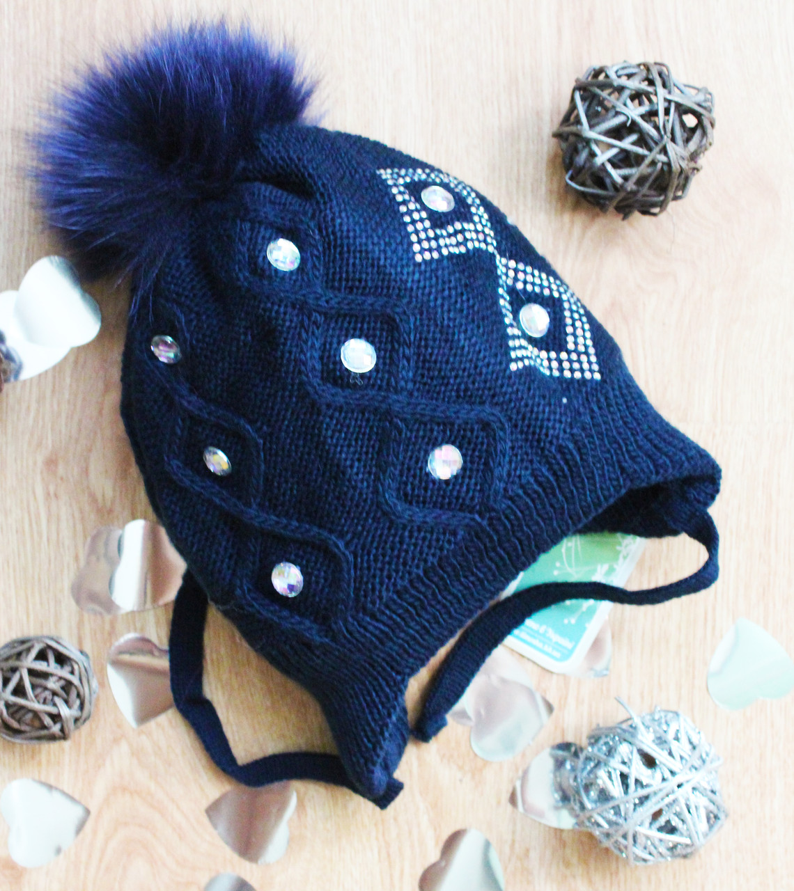 Вязаная шапка для девочек на флисе,натуральный помпон,полушерсть