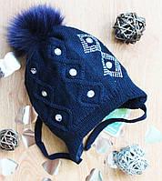 Вязаная шапка для девочек на флисе,натуральный помпон,полушерсть, фото 1