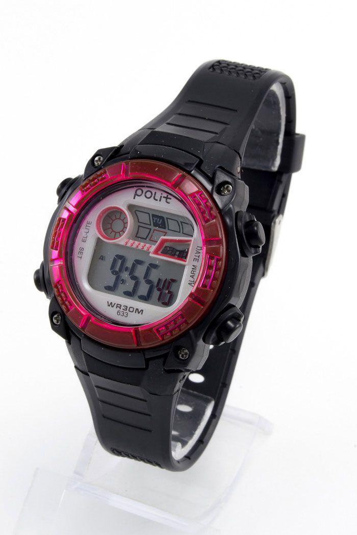 Детские наручные часы Polit (Полит), черно-красный корпус и серебристый циферблат ( код: IBW156BR )