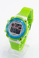 Годинник дитячі наручні годинники Polit (Політ) 3-14 років, зелено-блакитний корпус і циферблат срібло ( код: IBW156GL )