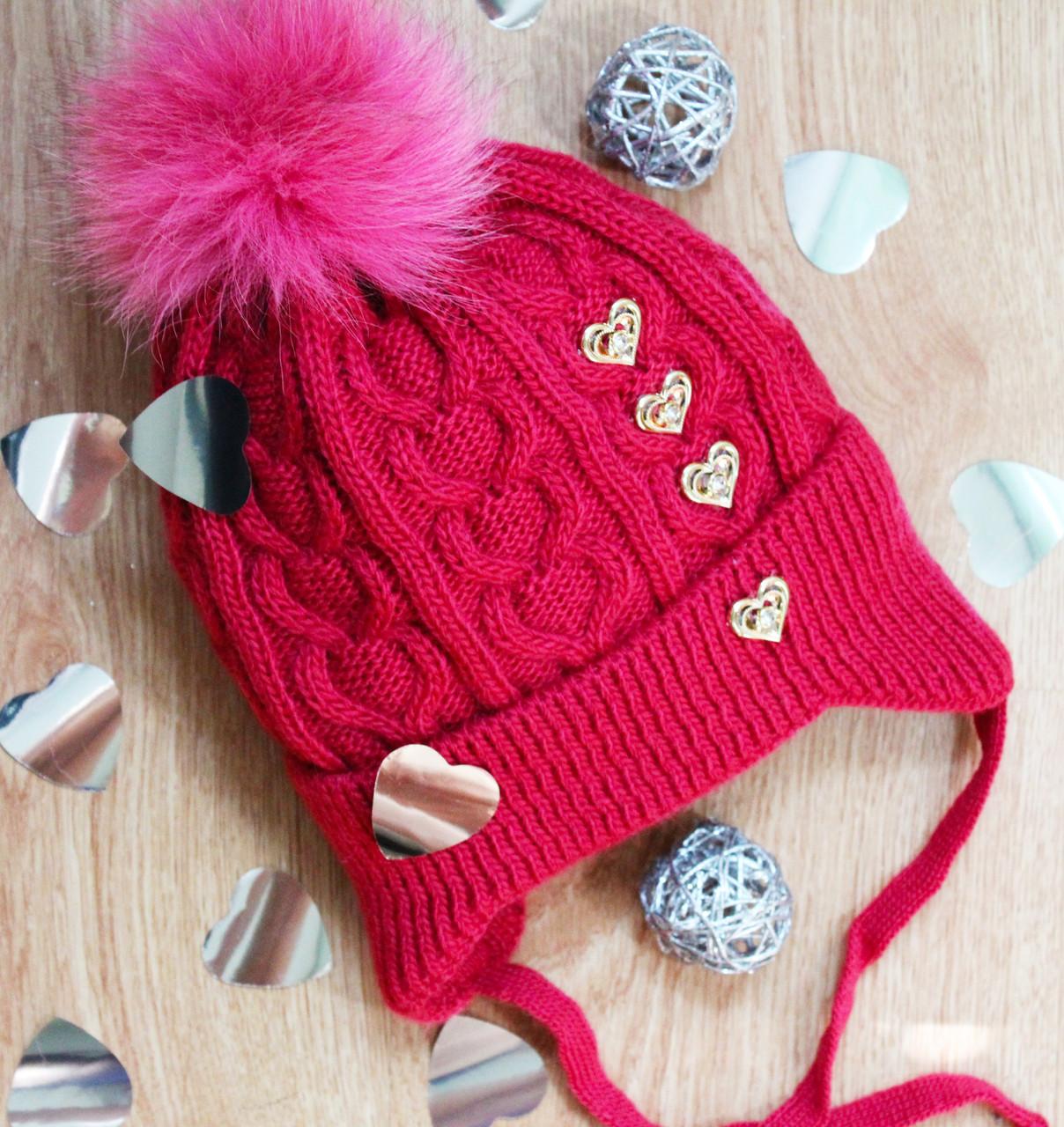 Зимняя вязаная детская  шапка на флисе для девочки,натуральный помпон,полушерсть