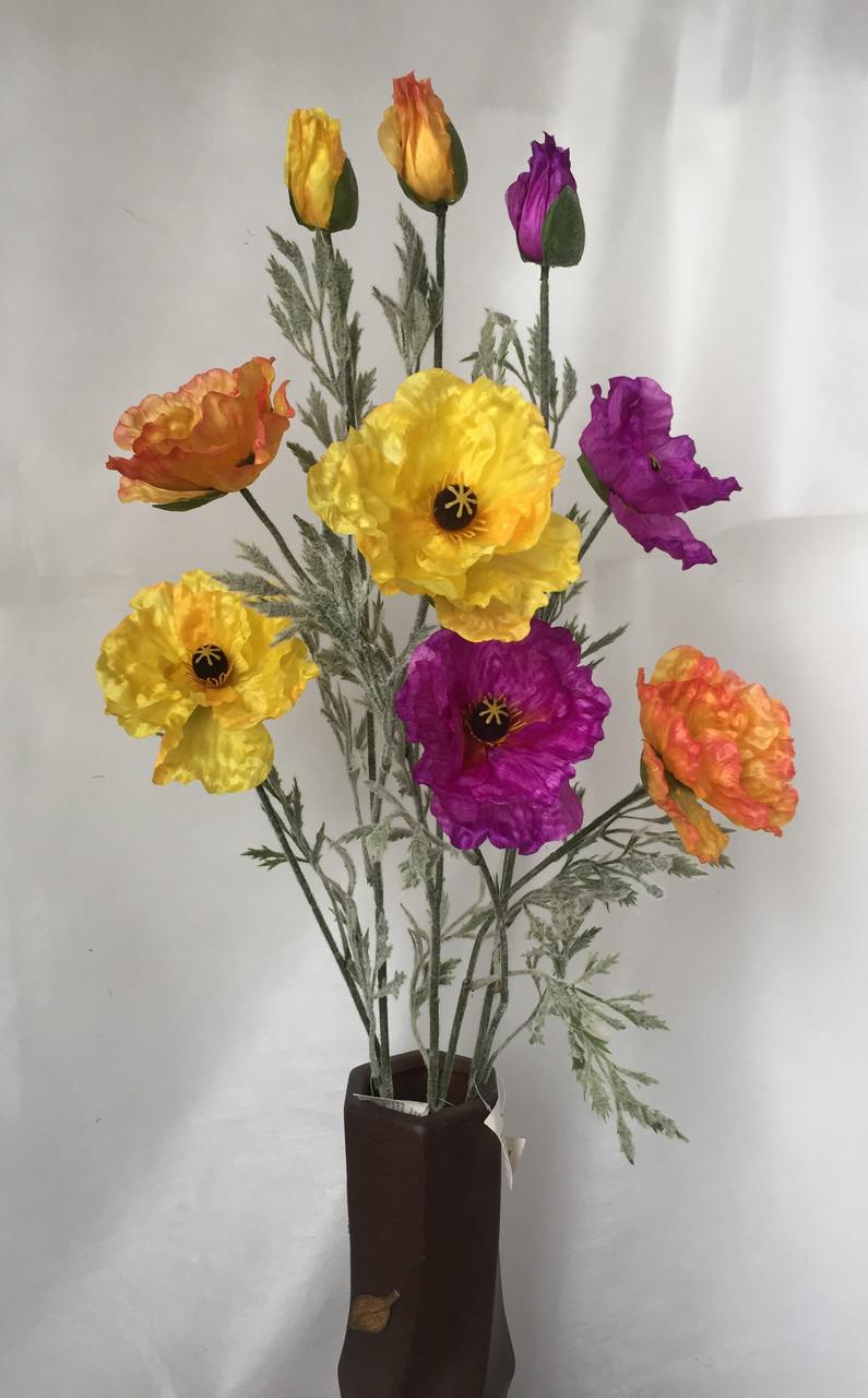 Искусственная ветка мака, 2 цветка и бутон