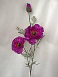 Искусственная ветка мака, 2 цветка и бутон, фото 5