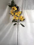 Искусственная ветка  гибискуса (суданская роза) 5 цветков, фото 3