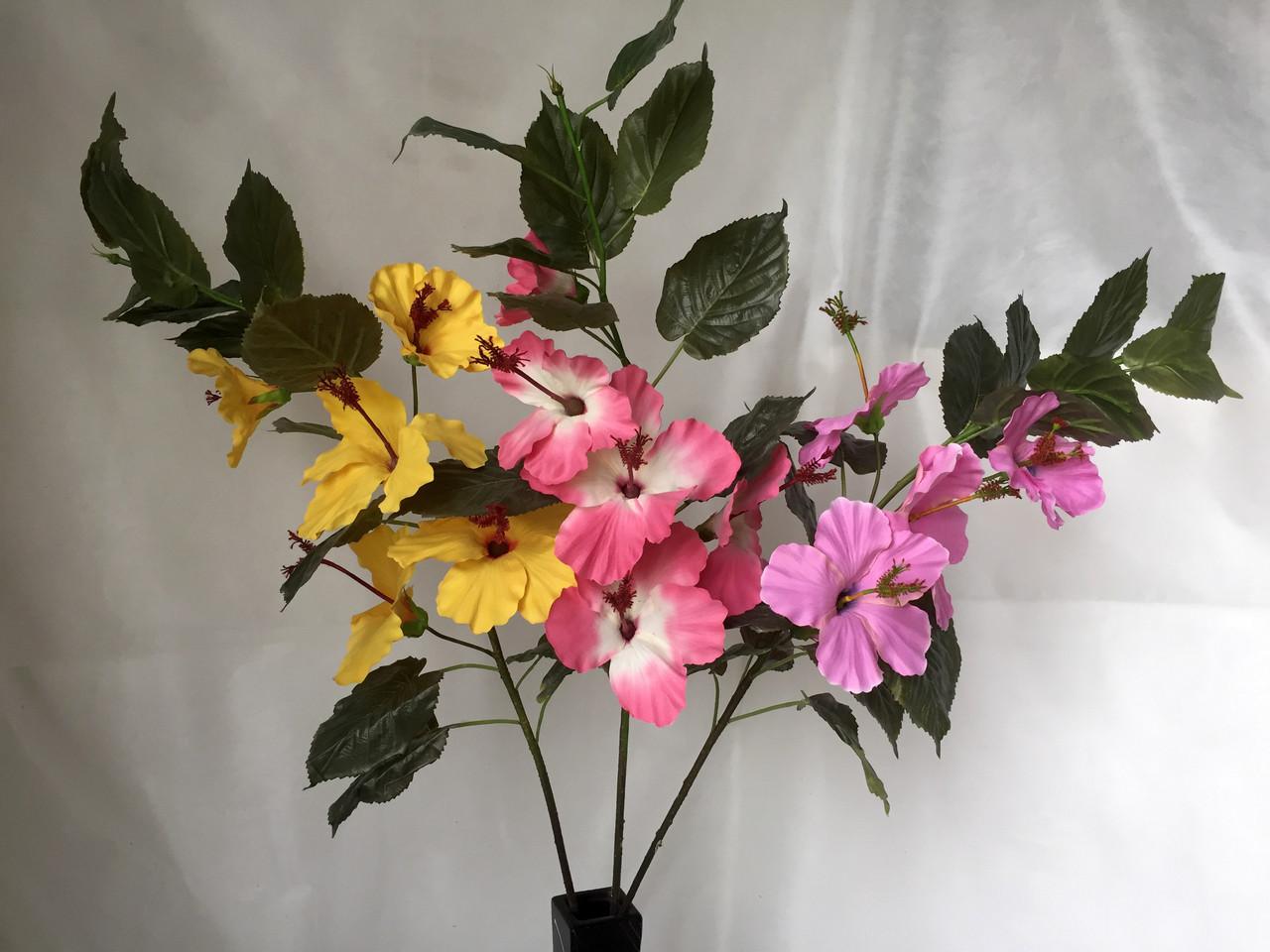 Искусственная ветка  гибискуса (суданская роза) 5 цветков