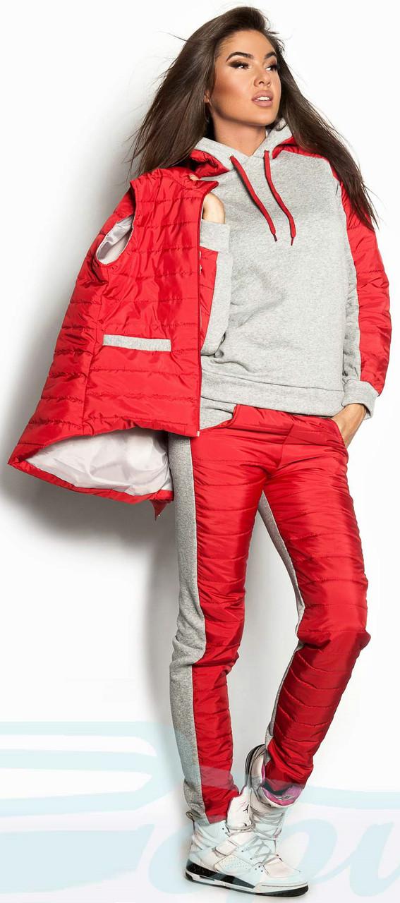 c53b28c0 ... Утепленный женский спортивный костюм тройка Gr 18078 Красный, фото 5