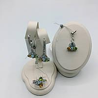 Серебряные серьги, кольцо и кулон перидот, топаз, цитрин. Комплект