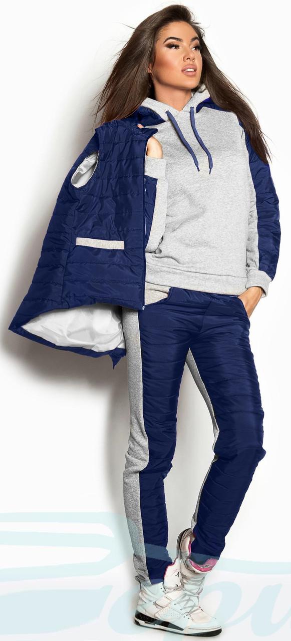 f37ea7ea Утепленный женский спортивный костюм тройка Gr 18078 Синий: продажа ...