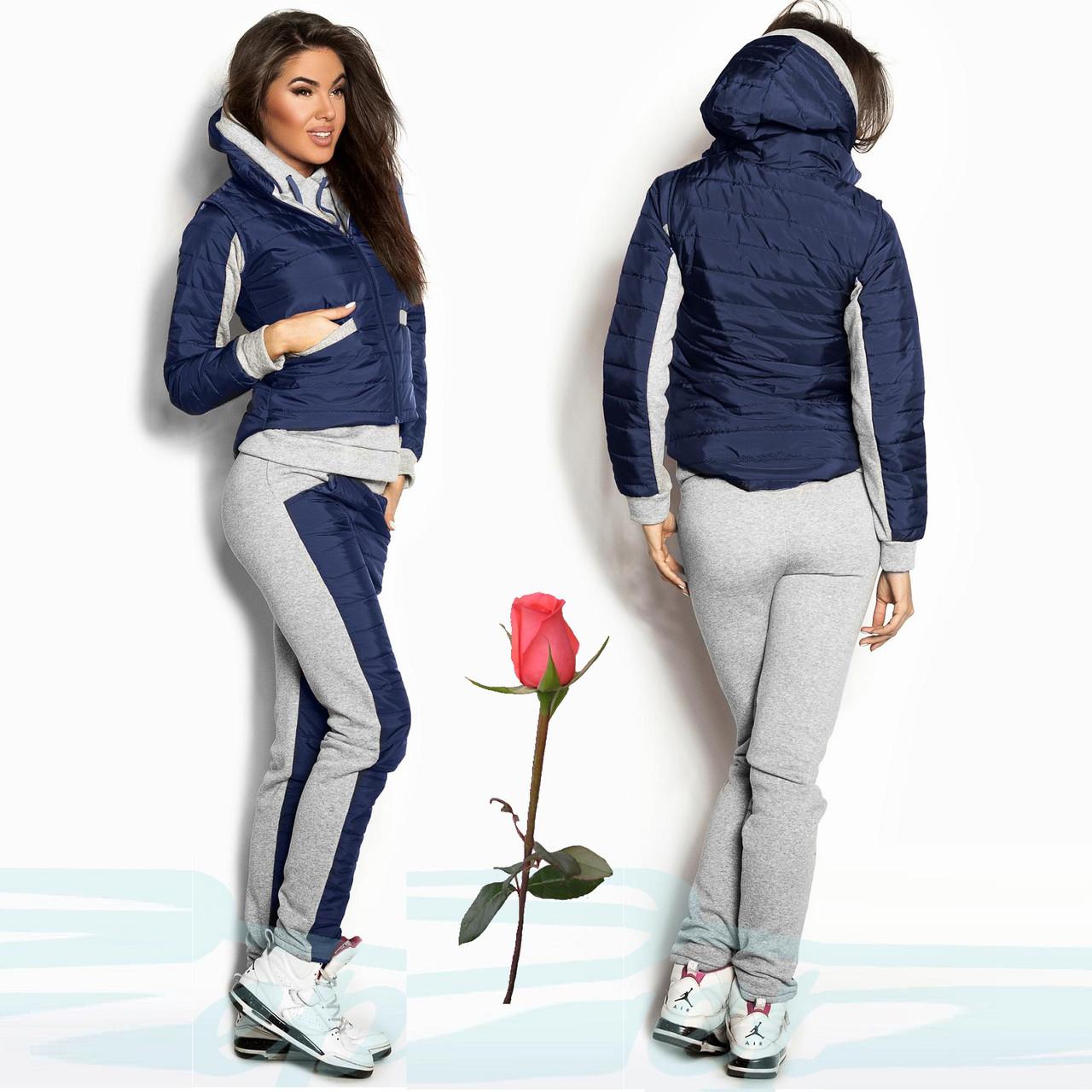 Утепленный женский спортивный костюм тройка  Gr 18078  Синий