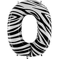 """Фольгированный шар цифра """"0"""" зебра"""