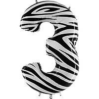 """Фольгированный шар цифра """"3"""" зебра"""