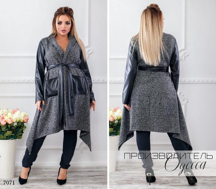 Пальто женское букле без подкладки под пояс с карманами букле+эко-кожа размер:46-48,50-52,54-56,58-60