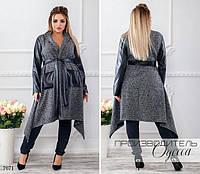Пальто женское букле без подкладки под пояс с карманами букле+эко-кожа размер:46-48,50-52,54-56,58-60, фото 1