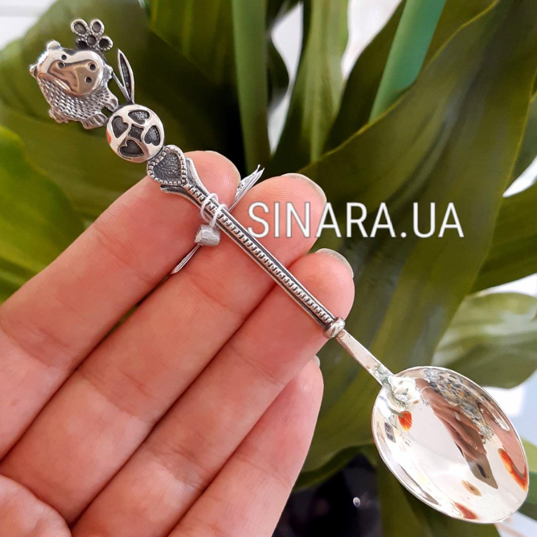Детская серебряная ложка Бегемотик - Серебряная ложка для ребенка с бегемотиком