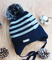 Зимняя детская шапка на мальчика(вязаная на флисе), фото 1