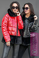 Куртка из плащевки и экомеха цвет черный и красный