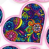 (5шт) Сердечко расписное 9,5х8см, Термоаппликация, патч (нашивка на одежду) Цена за 5 шт