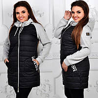 Куртка стеганая с трикотажным рукавом, модель 768/2,  черная, фото 1