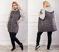 Куртка стеганая с трикотажным рукавом, модель 768/2,  графит