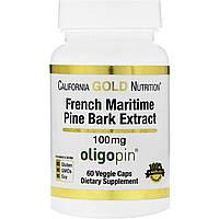 California Gold Nutrition, Экстракт коры французской морской сосны, 100 мг, антиоксидант полифенол, 60 вегетарианских капсул