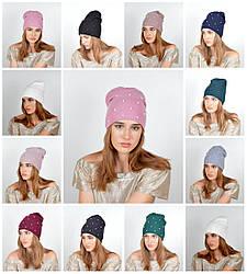 Женская трикотажная шапка жемчуг+стразы Молли