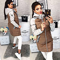 Куртка стеганая с трикотажным рукавом, модель 768/2,  кофе, фото 1