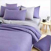 Комплект постельного белья Евро Сатин Фиолетовый + Серый цвет