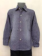 Рубашка из натуральной ткани для мальчиков 110,116,122,128 роста с бежевыми пуговицами
