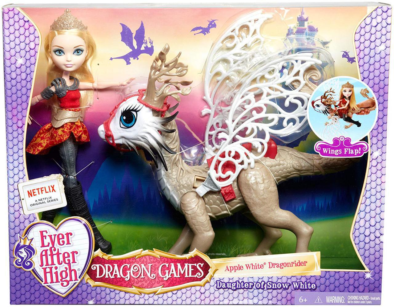 Ever After High Набор Эппл Уайт и дракон БрэбёрнDragon Games Apple White Doll and Braebyrn Dragon