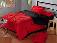 Комплект постельного белья Евро Сатин Красный + Черный цвет