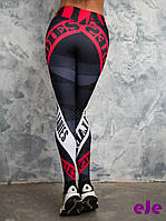 Лосины для фитнеса леггинсы черно-красные, фото 1