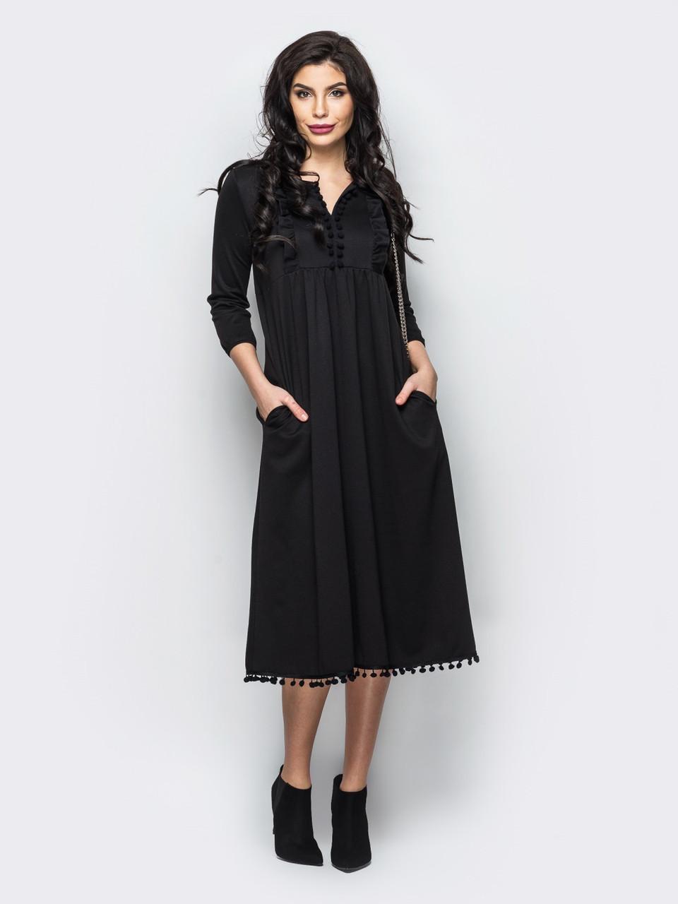 67ec03670aba63a Черное элегантное трикотажное платье миди р.44,46,48,50: продажа ...
