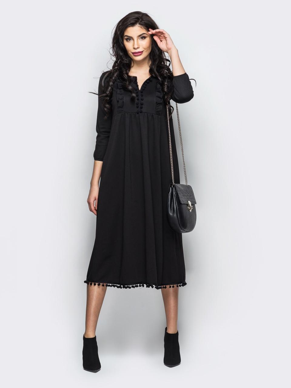 f7ffaef28c0 Черное элегантное трикотажное платье миди р.44