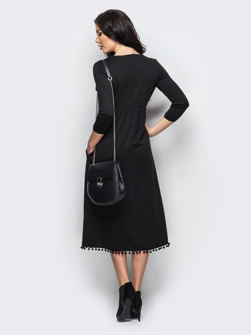 c32e414a1af ... фото Черное элегантное трикотажное платье миди р.44
