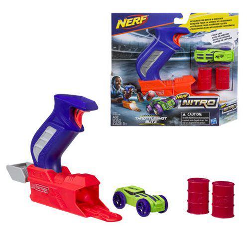 Игровой набор Nerf Nitro Throttleshot Blitz, с машинкой и пусковым механизмом, синий, Hasbro, Оригинал из США