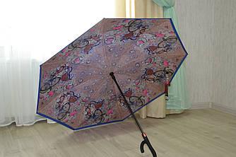 Сухой зонт на оборот up-brella. Полуавтомат.Синий