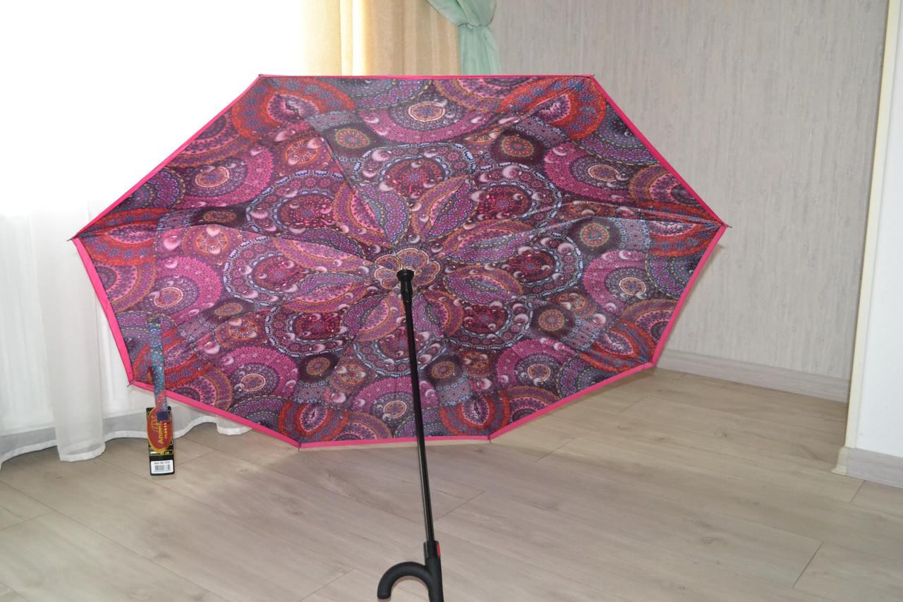 Сухой зонт на оборот up-brella. Полуавтомат. Розовый.