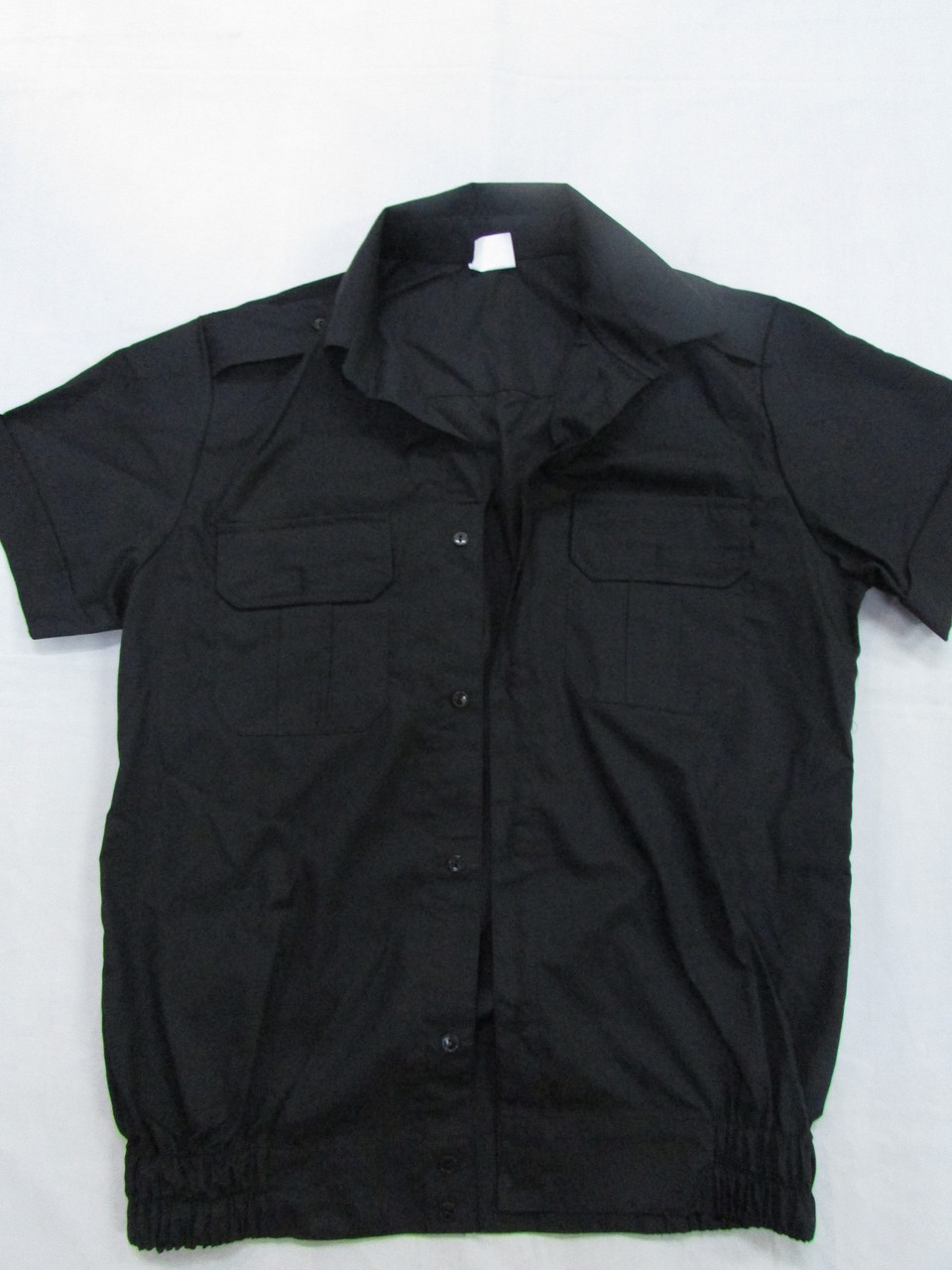 Рубашка форменная черная с коротким рукавом под резинку