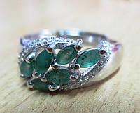 """Симпатичный серебряный перстень с изумрудами """"Акация"""",  от студии LadyStyle.Biz, фото 1"""