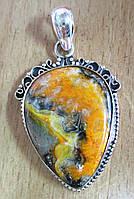 """Шикарный серебряный кулон  с   яшмой шмелем """"Сердечный""""  от студии LadyStyle.Biz, фото 1"""