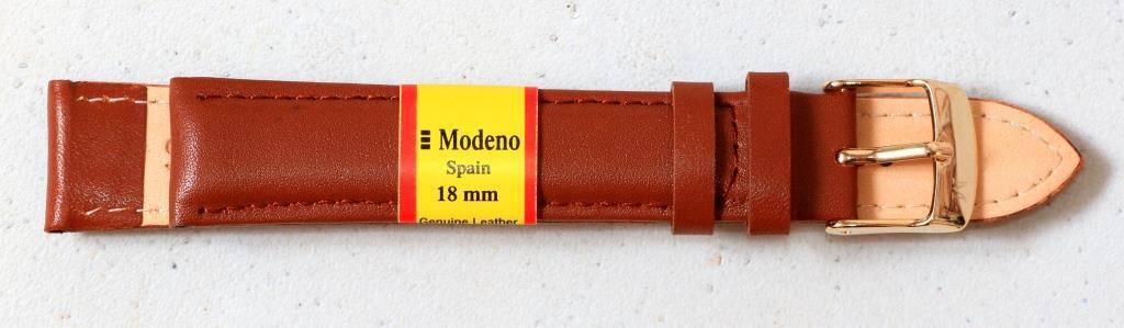 Ремешок кожаный MODENO (ИСПАНИЯ) 18 мм, Св Коричневый гладкий