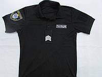 Тенниска поло 100% пэ влагоотводящая черная для полиции, фото 1