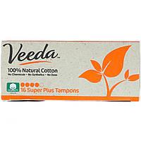 Veeda, 100% Natural Cotton Tampon, Super Plus, 16 Tampons