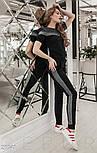 Черный костюм с полоской из люрекса с коротким рукавом, фото 2