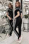 Черный костюм с полоской из люрекса с коротким рукавом, фото 3
